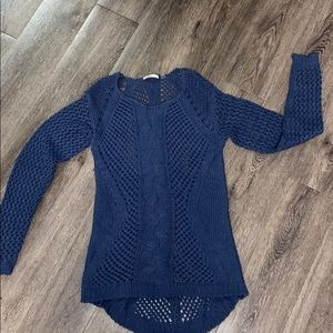 Turquoise loose knit hi low sweater